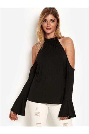 YOINS Cut Out Cold Shoulder Long Bell Sleeves Top