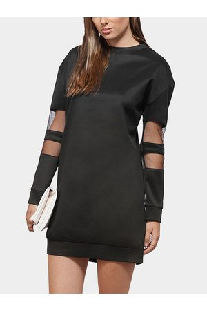 YOINS Mesh Insert Long Sleeve Sweatshirt Dress in