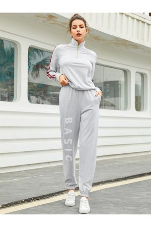 YOINS Grey Letter Stretch Waistband Pants