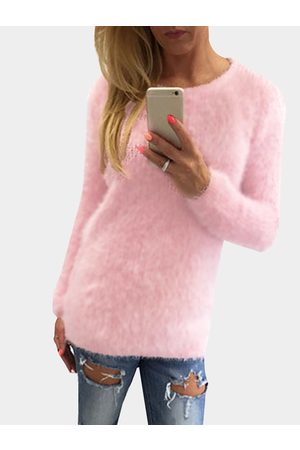 YOINS Casual Round Neck Long Sleeves Fuzzy T-shirt