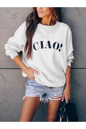 YOINS Letter Print Round Neck Long Sleeves Sweatshirt