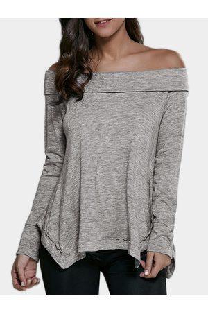 YOINS Women Long Sleeve - Slit Design Off The Shoulder T-shirt