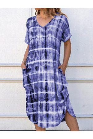 YOINS Side Pockets Tie Dye V-neck Short Sleeves Dress