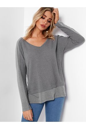 YOINS Stitching Design V-neck Long Sleeves T-shirt