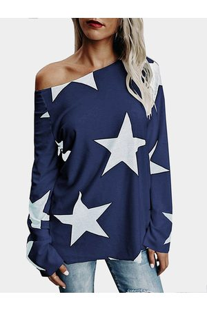 YOINS Star One Shoulder Long Sleeves T-shirt