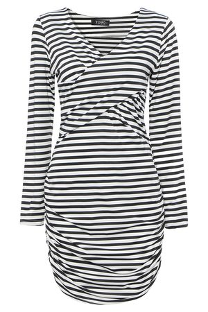YOINS Bodycon Plunge Dress in Stripe with Long Sleeve