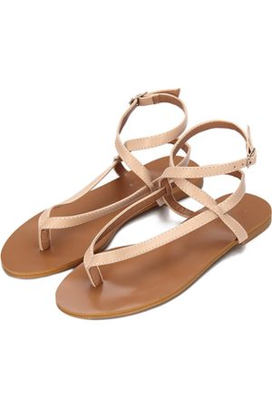 YOINS Apricot Leather Look Cross Ankle Strap Toe Post Flat Sandals