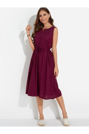YOINS Drawstring Waist Casual Midi Dress