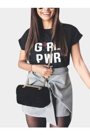 YOINS Short-sleeved T-shirt Girl Power Letter Print