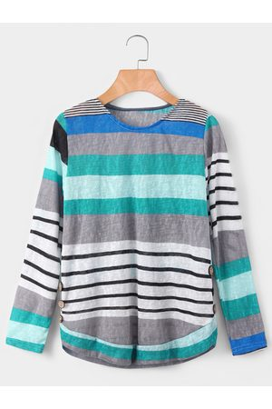 YOINS Blue Random Stripe Round Neck Long Sleeves T-shirt