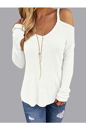 YOINS Beige Thin Shoulder Cold Shoulder Long Sleeve T-shirt