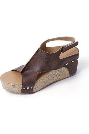 YOINS Peep Toe Rivet Design Wedge Sandals