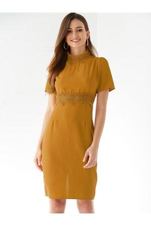 YOINS Crochet Lace Embellished Round Neck Dress