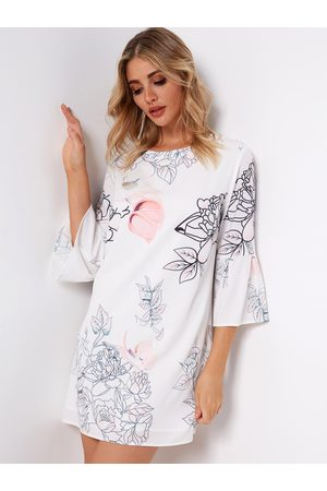 YOINS Zip Design Random Floral Print Round Neck Bell Sleeves Dress