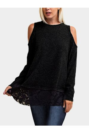 YOINS Lace Insert Cold Shoulder Causal Long Sleeves T-shirt