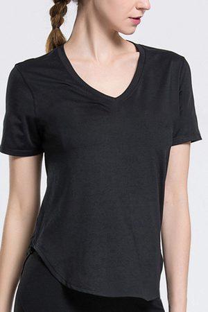 YOINS V-neck Hollow-out Design T-shirt