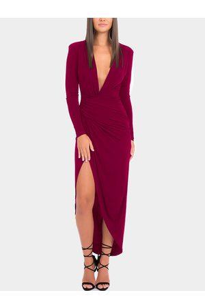 YOINS Deep V-Neck Slit Hem Maxi Party Dresses