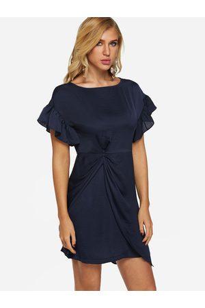 YOINS Flounced Details Round Neck Short Sleeves Irregular Hem Dress