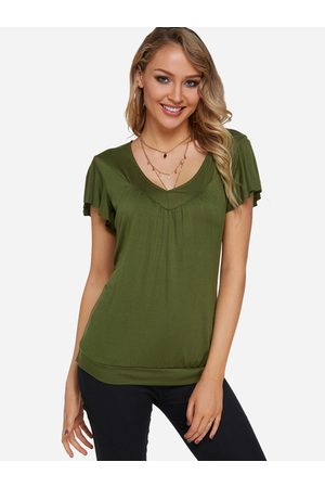 YOINS Army Green Pleated Design V-neck Ruffle Sleeves Blouse