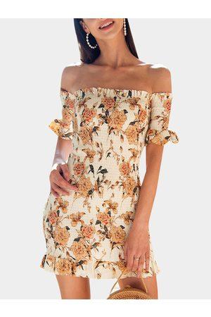 YOINS Random Floral Print Off The Shoulder Short Sleeves Bodycon Dress