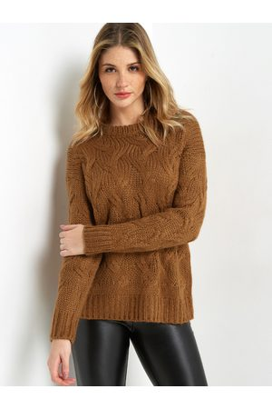 YOINS Crew Neck Long Sleeved Cable Knit Sweater