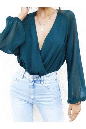 YOINS Wrap Design Deep V Neck Bodysuit
