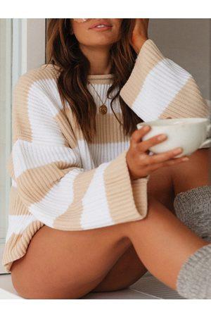 YOINS Round Neck Stripe Long Sleeves Sweater