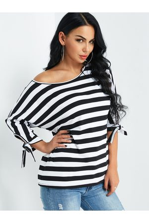 YOINS Stripe One Shoulder Top With Tie-up At Cuffs Design