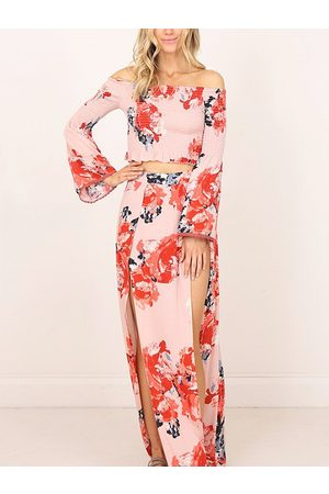 YOINS Multi Slit Design Floral Print Off The Shoulder Long Sleeves Two Piece Outfits