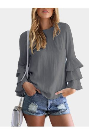 YOINS Round Neck Flared Sleeves Blouse