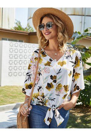 YOINS Self-tie Design Floral Print V-neck Short Sleeves Blouse