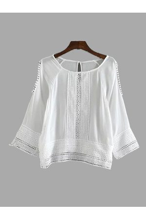 YOINS Cold Shoulder Lace Insert Long Sleeve Top