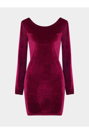 YOINS Burgundy Velvet Body-Conscious Dress with Open Back