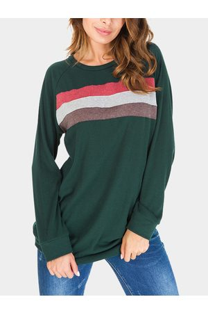 YOINS Color-stitching Pullover Long Sleeves T-shirts