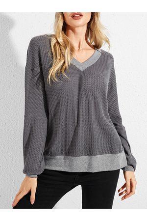 YOINS Grey Backless Design V-neck Long Sleeves Top