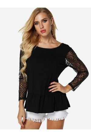 YOINS Backless Design Lace Insert Design Round Neck Long Sleeves T-shirts