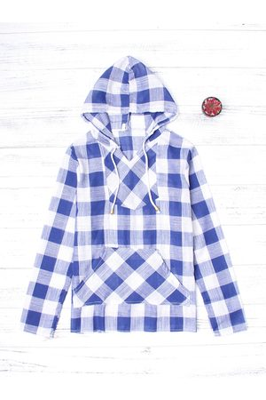 YOINS Grid Pattern Long Sleeved Front Patch Pocket Hoodie