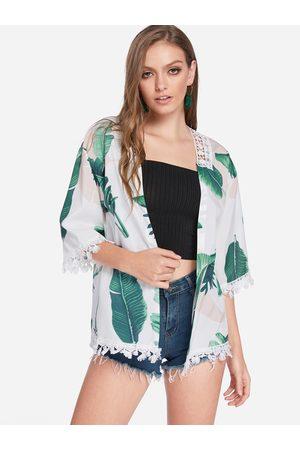 YOINS Tropical Print Lace Details Kimono