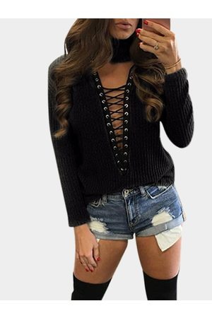 YOINS Sexy Knitted Roll Neck Hollow Lace-up Front Jumper