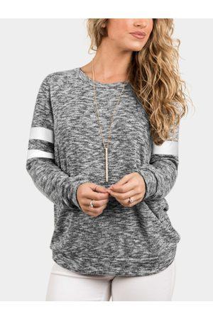 YOINS Plain Crew Neck Strip Details Long Sleeves Sweater