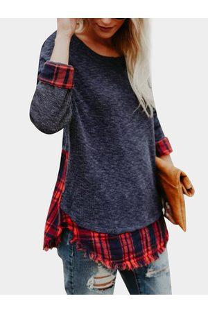 YOINS Grid Pattern Round Neck Long Sleeves Curved Hem Stitching T-shirt