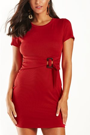 YOINS Jersey Belt Design Bodycon Hem Dress