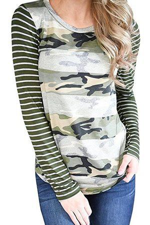 YOINS Camouflage Stripe Pattern Crew Neck Long Sleeves T-shirts