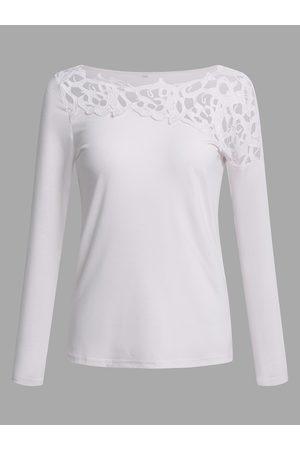 YOINS Lace Insert Cut Out Details Plain Round Neck Long Sleeves T-shirt