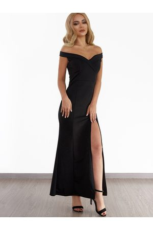 YOINS Off Shoulder Slit Hem Maxi Dress