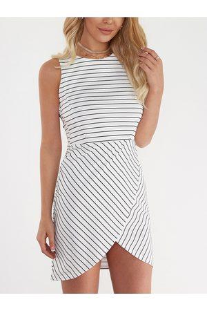 YOINS Stripe Round Neck Sleeveless Bodycon Mini Dress