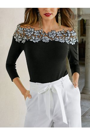YOINS Black Lace Floral Off The Shoulder Long Sleeves Tee