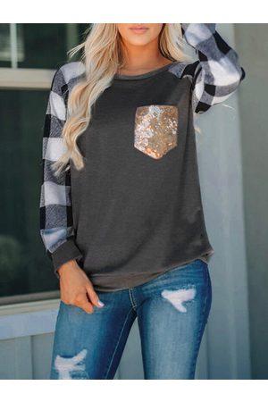 YOINS Women Long Sleeve - Pocket Design Check Round Neck Long Sleeves Tee