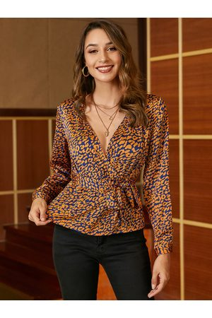 YOINS Orange Belt Design Paisley Satin Blouse