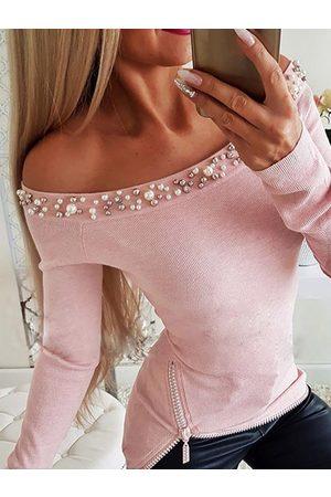 YOINS Pink Zip Design Off The Shoulder Long Sleeves Tee